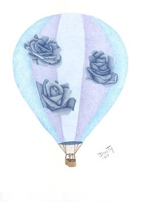Balloon Flower Drawing - Up Up And Away by Dusty Reed