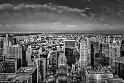 New York City Skyline Photograph - Uptown Manhattan New York City Bw by Susan Candelario