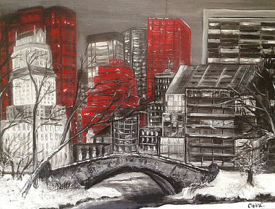 Cityscape Painting - Urban Snow by Christie Clunan