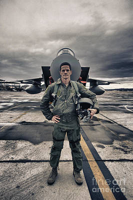 U.s. Air Force Pilot Standing In Front Art Print