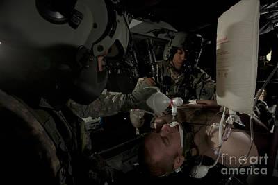 U.s. Army Medics Simulating Ventilation Art Print by Terry Moore