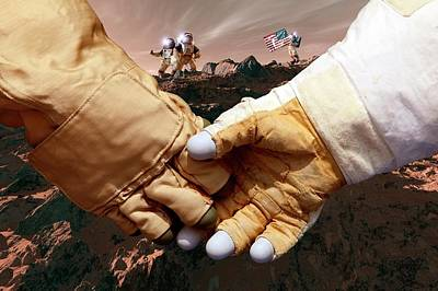 Us Astronauts On Mars Art Print