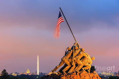 Us Marine Corps War Memorial Print by Henk Meijer Photography