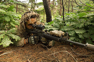 Down On The Ground Photograph - U.s. Marine Scout Sniper Provides by Stocktrek Images