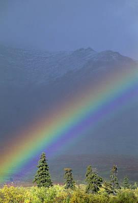 Alaska Photograph - Usa, Alaska, Rainbow, Tundra, Fall by Gerry Reynolds