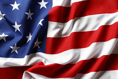 Landmarks Royalty-Free and Rights-Managed Images - USA flag No.52 by Les Cunliffe