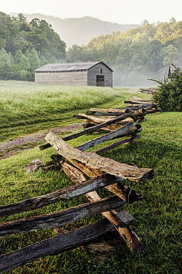 Split Rail Fence Photograph - Usa, Tennessee, Great Smoky Mountains by Jaynes Gallery