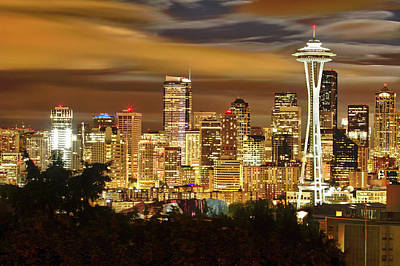 Seattle Skyline Photograph - Usa, Washington, Seattle by Christopher Reed