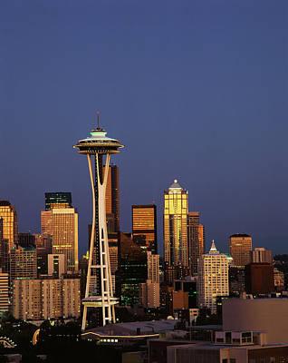 Seattle Skyline Photograph - Usa, Washington State, Seattle, Space by Adam Jones