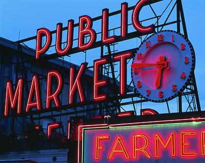 Large Clocks Photograph - Usa, Washington State, Seattle, View by Walter Bibikow