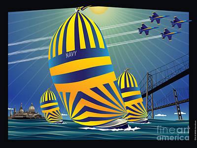 Sailing Digital Art - Usna High Noon Sail by Joe Barsin