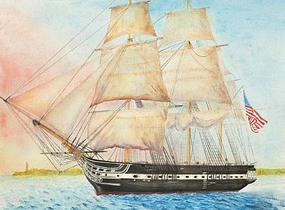 Uss Constitution Painting - Uss Constitution Passes Cape Henry With Orders To Capture Or Destroy by Carl Hartsfield
