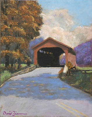 Covered Bridge Painting - Utica Mills by David Zimmerman