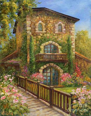 Winery Painting - V. Sattui Winery In Bloom by Gail Salituri