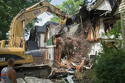 Demolition Photograph - Vacant Home Demolition by Jim West