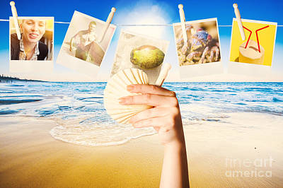 Shell Sign Photograph - Vacation Woman With Photos From Summer Holiday by Jorgo Photography - Wall Art Gallery