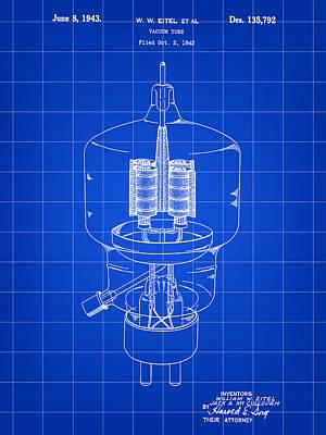 Vacuum Tube Patent 1942 - Blue Art Print