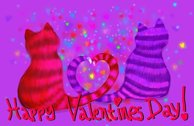 Valentines Day Digital Art - Valentines Cats by Nick Gustafson