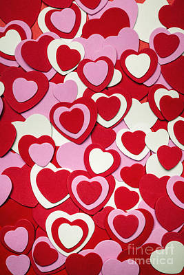 Craft Photograph - Valentines Day Hearts by Elena Elisseeva