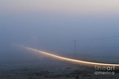 Photograph - Valley Fog With Car Light Trails by Jim Corwin