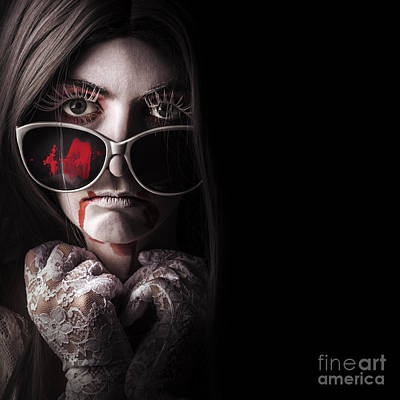 Vampire In The Dark. Horror Fashion Portrait Art Print