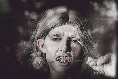 Vampire Photograph - Vampire Woman Holding Flower. Horror Valentine by Jorgo Photography - Wall Art Gallery