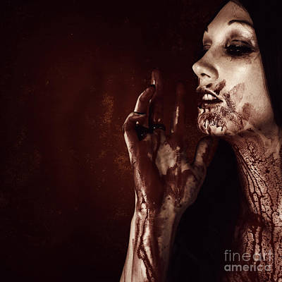 Vampire Photograph - Vampire Woman Touching Tasting And Smelling Blood by Jorgo Photography - Wall Art Gallery