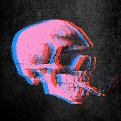 Neon Colors Digital Art - Van Gogh Skull With Burning Cigarette Remixed 2 by Filippo B