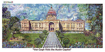 Capitol Building Painting - Van Gogh Visits The Austin Capitol by GretchenArt FineArt
