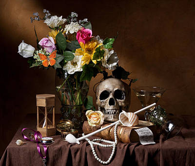 Photograph - Vanitas With Flowers Bouquet-skull-hourglass-clay Pipe And Glassware by Levin Rodriguez