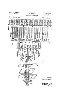 Vannevar Bush Comparator Patent Art Print by Us National Archives