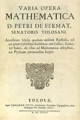Varia Opera Mathematica By Pierre Fermat Art Print