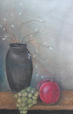 Pastel Painting - Vase And Fruit by Cathy Lindsey