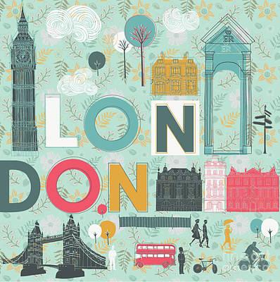 Big Ben Wall Art - Digital Art - Vector London Symbols by Lavandaart