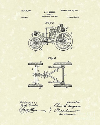Wheel Drawing - Vehicle 1901 Patent Art by Prior Art Design
