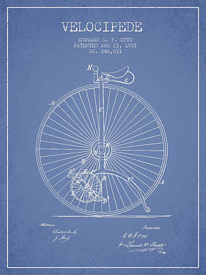Transportation Digital Art - Velocipede Patent Drawing from 1881 - Light Blue by Aged Pixel