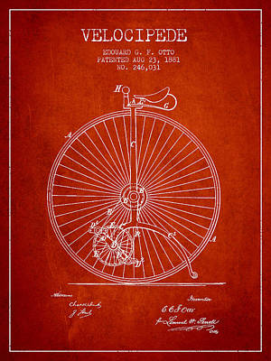 Transportation Digital Art - Velocipede Patent Drawing from 1881 - Red by Aged Pixel