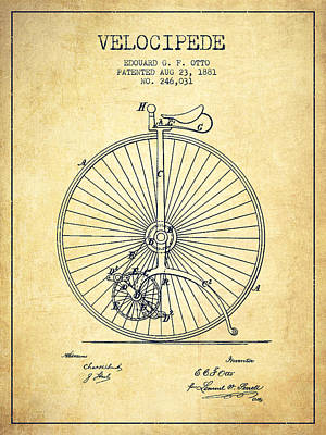 Transportation Digital Art - Velocipede Patent Drawing from 1881 - Vintage by Aged Pixel