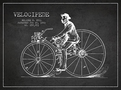 Transportation Digital Art - Velocipede Patent Drawing from 1882- Dark by Aged Pixel