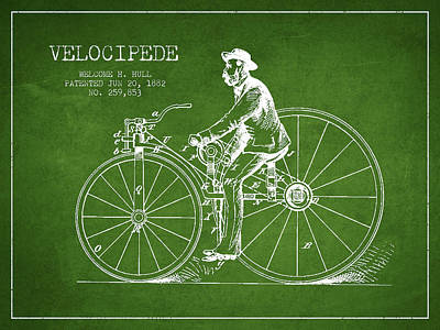 Transportation Digital Art - Velocipede Patent Drawing from 1882- Green by Aged Pixel