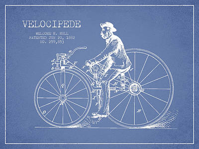 Transportation Digital Art - Velocipede Patent Drawing from 1882- Light Blue by Aged Pixel