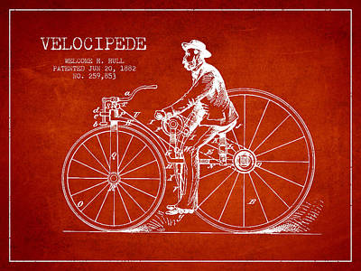 Transportation Digital Art - Velocipede Patent Drawing from 1882- Red by Aged Pixel