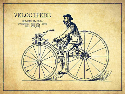 Transportation Digital Art - Velocipede Patent Drawing from 1882- Vintage by Aged Pixel
