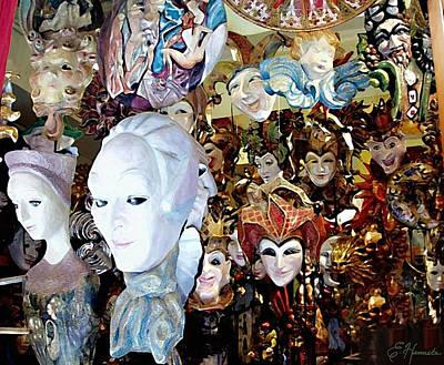 Display Window Painting - Venetian Masks 2 by Ellen Henneke