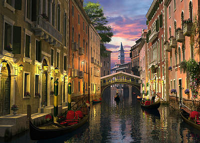Canals Digital Art - Venice At Dusk by Dominic Davison