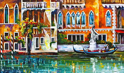 Waterscape Painting - Venice Canal by Leonid Afremov