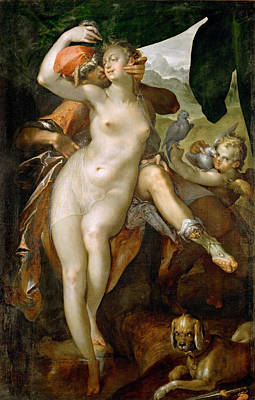 Goddess Of Beauty Painting - Venus And Adonis by Bartholomeus Spranger