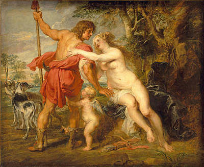Venus And Adonis Art Print by Peter Paul Rubens