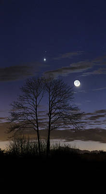 Planets Photograph - Venus And Mars In The Night Sky by Laurent Laveder