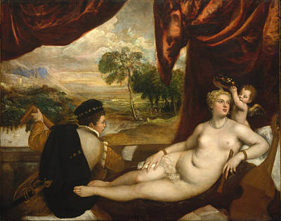 Venus And The Lute Player Art Print by Titian